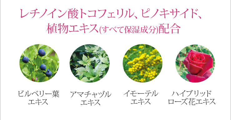 レチノイン酸トコフェリル、ピノキサイド、植物エキス(すべて保湿成分)配合