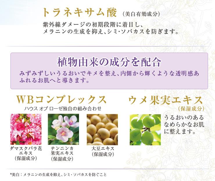 トラネキサム酸(美白有効成分)配合。植物由来の成分を配合。WBコンプレックス(ダマスクバラ花エキス・テンニンカ果実エキス・大豆エキス(すべて保湿成分)配合。ウメ果実エキス(保湿成分)配合。